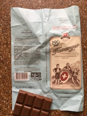 Favarger - Schweizer Milchschokolade mit 38% Kakoanteil.