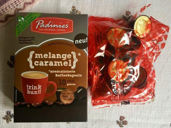 """Padinies """"melange caramel"""" Nespresso-fähige Kapseln: zumindest ein sehr schöner Karton."""