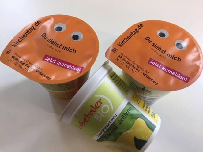 Lobetaler Bio-Joghurt Zitrone Kirchentags-Motiv auf Deckel