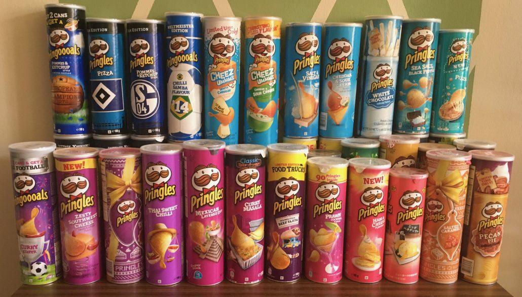 Pringles Blau- und Rosatöne