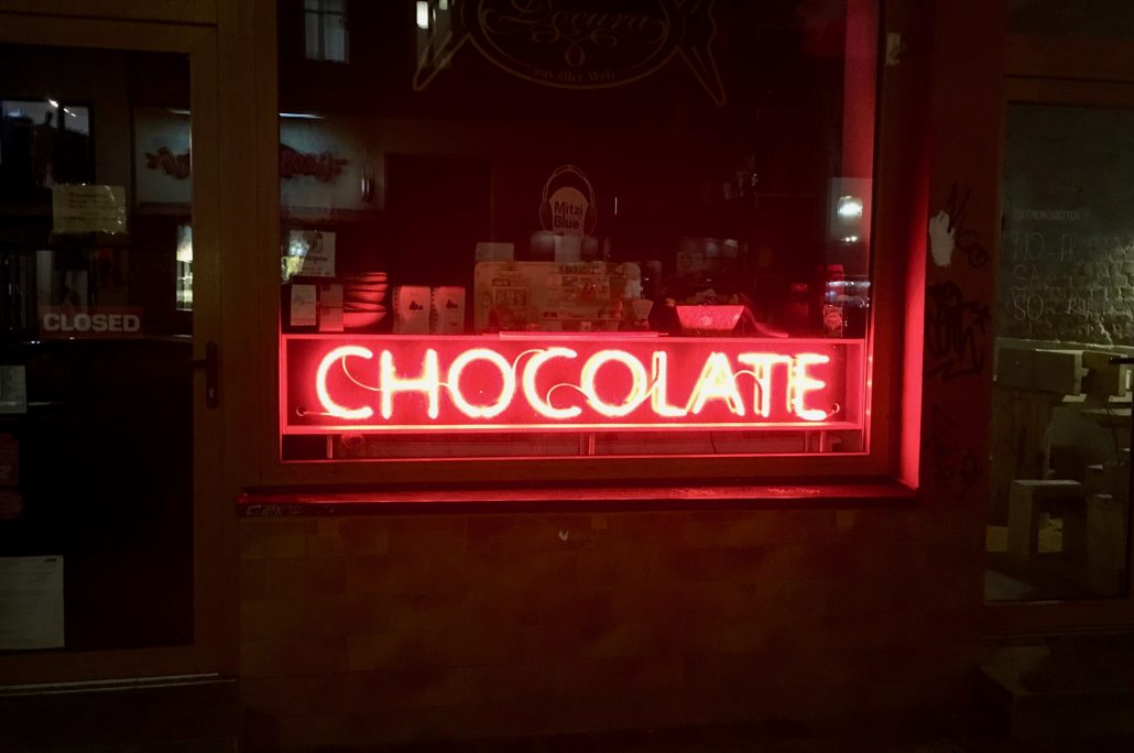 Chocolate Sign red night