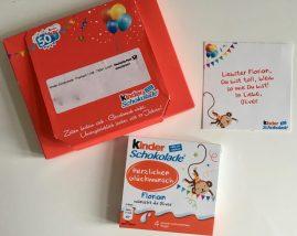 Ferrero KINDER Personalisierte Geburtstagstafel Kinderschokolade