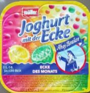 Müller Milch Joghurt mit der Ecke Ahoj Brause Waldmeister