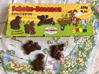 Hauswirth Schoko-Bananen Osterfiguren offen