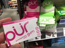 pür Kaugummi aus Kanada ohne den Süßstoff Aspartam, dafür mtit Xylit(ol).