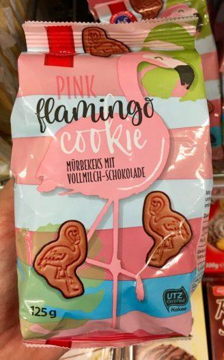 Pink Flamingo Cookie Mürbkeks Netto mit Hund