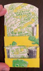 Sour Patch Lime Packung Innen mit Comic-Zeichnungen