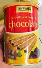 Hacendado Barquillos rellenos de chocolate Waffelröllchen mit Schokoladenfüllung Spanien