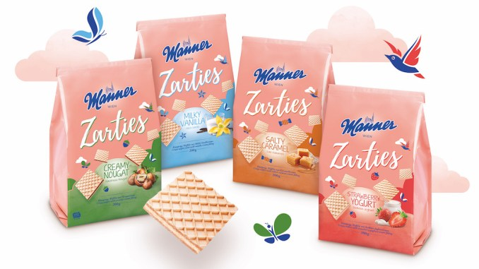 Die neuen Manner Zarties in vier Sorten: Creamy Nougat, Milky Vanilla, Salty Caramel und Strawberry Yogurt