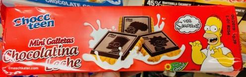 Chocoteen Schokokekse mit Simpson-Motiv auf Verpackung und Keksen