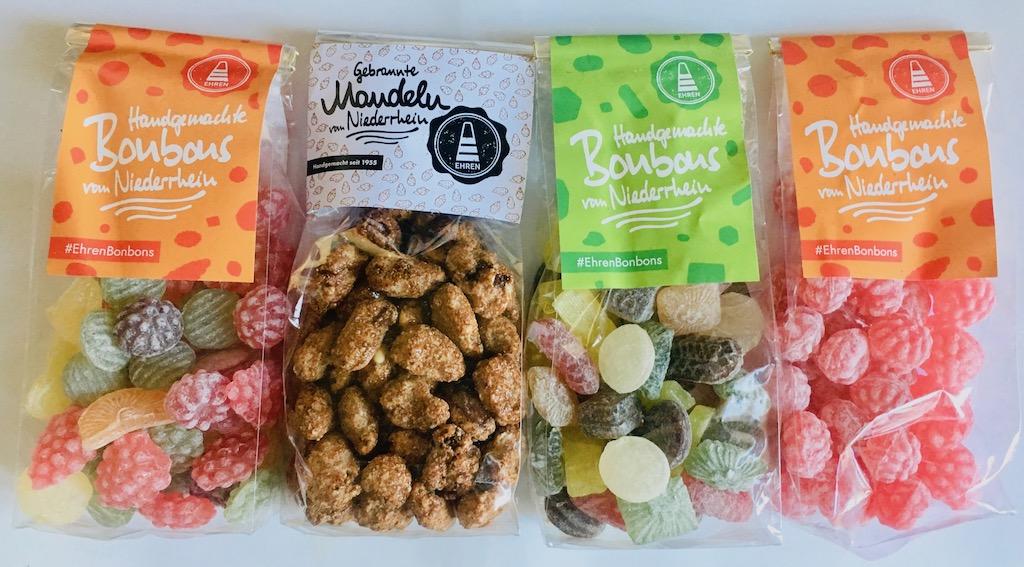 Die Fruchtbonbons in den Sorten Kirsch, Holunder, Orange, Zitrone, Vanille und Erdbeer-Joghurt. Kräuter-Bonbons in Glühweinbonbons, Anis-Stäbchen, Lakritz-, Salbei-Honig-, Fenchel- oder auch Euka-Menthol-Bonbons.
