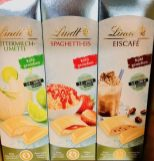 Lindt Buttermilch-Limette Spaghetti-Eis und Eiscafé Eiskrem-Sorten