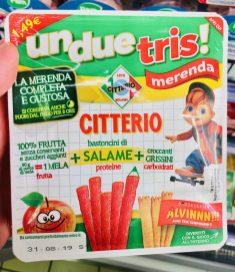 Parmareggio L'ABC della Merenda ohne Gluten Fruchtsaft mit Snackkäse und runden Crostini