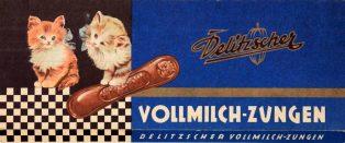 Alte Verpackung der Vollmilch-Zungen des Delitzscher Schokoladenwerks.