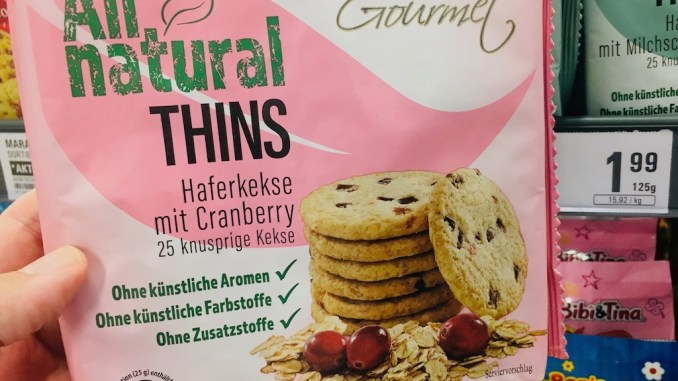 Tivoli Gourmet All natural Thins Haferkekse mit Cranberry 125 Gramm