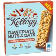 Kellogg Müsliriegel: Raw Fruits, Nuts & Oats, Typ Sonenblumenkerne und Chiasamen