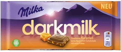 Darkmilk von Milka mit gesalzenem Karamell.