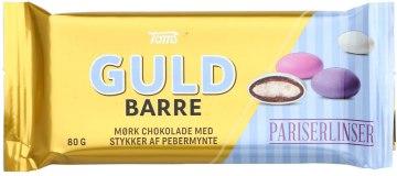 Guld Barre - Goldbarren vom dänischen Tom's, gefüllt mit Pariser Linsen (bunten Schoko-Minz-Linsen).