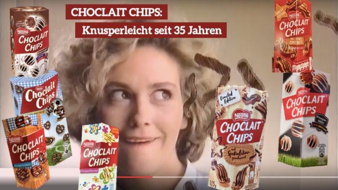 Nestlé Choclait Chips 35 Jahre Collage