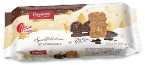 Spekulatius von Coppenrath mit Schokoladenunterseite. Auch hier die Verschlusslasche.