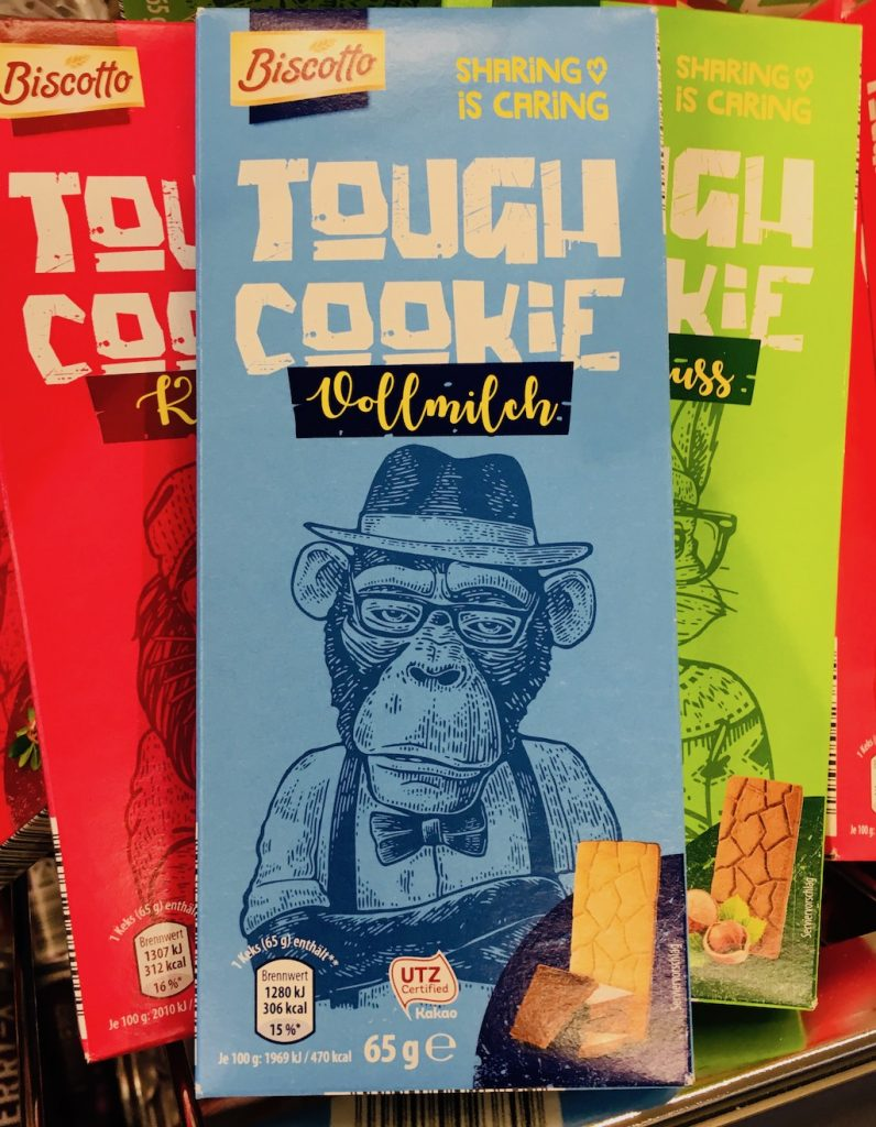 Aldi Biscotto Tough Cookie Vollmilch Affenmotiv