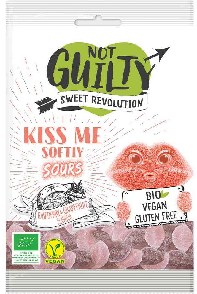 Bio Vegan Not Guilty sweet revolution kiss-me-softly sours Himbeere Grapefruit Pamplemuse 100g