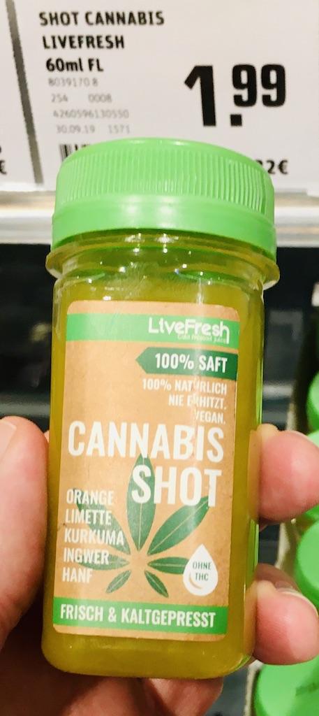 Cannabis Shot mit Ingwer-Orange-Limette-Kurkuma-hanf REWE