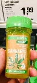 Wow: Cannabis-Shot, gefunden bei Rewe mit Ingwer-Orange-Limette-Kurkuma und Hanf