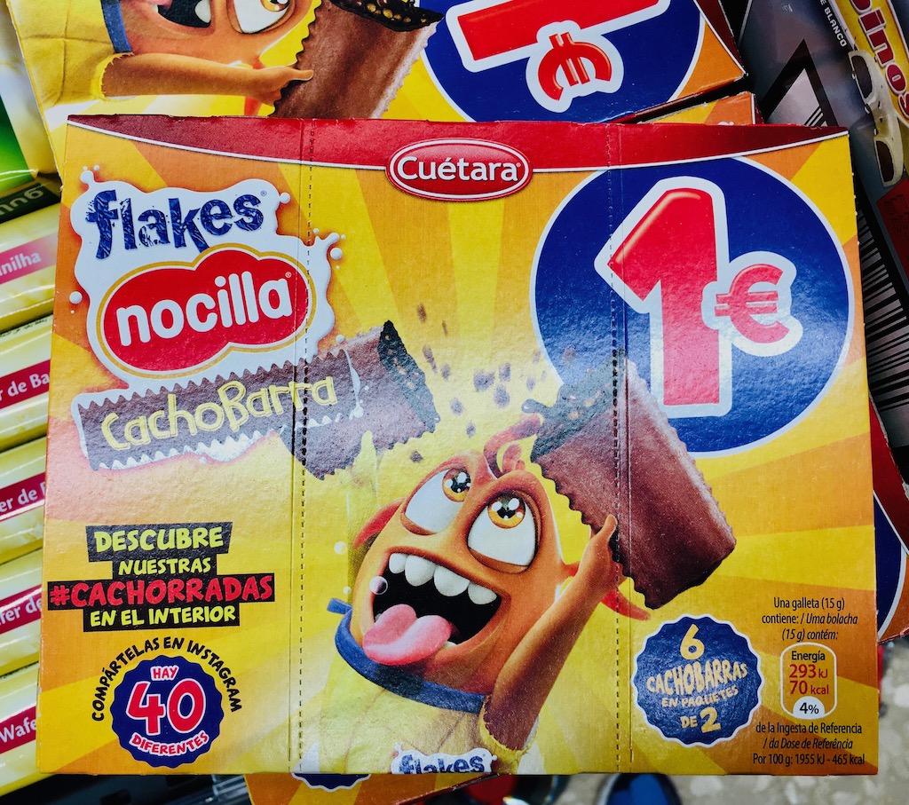 Cuetara flakes nocilla CachoBarra Mit Nougatcreme gefüllte Kekse Spanien