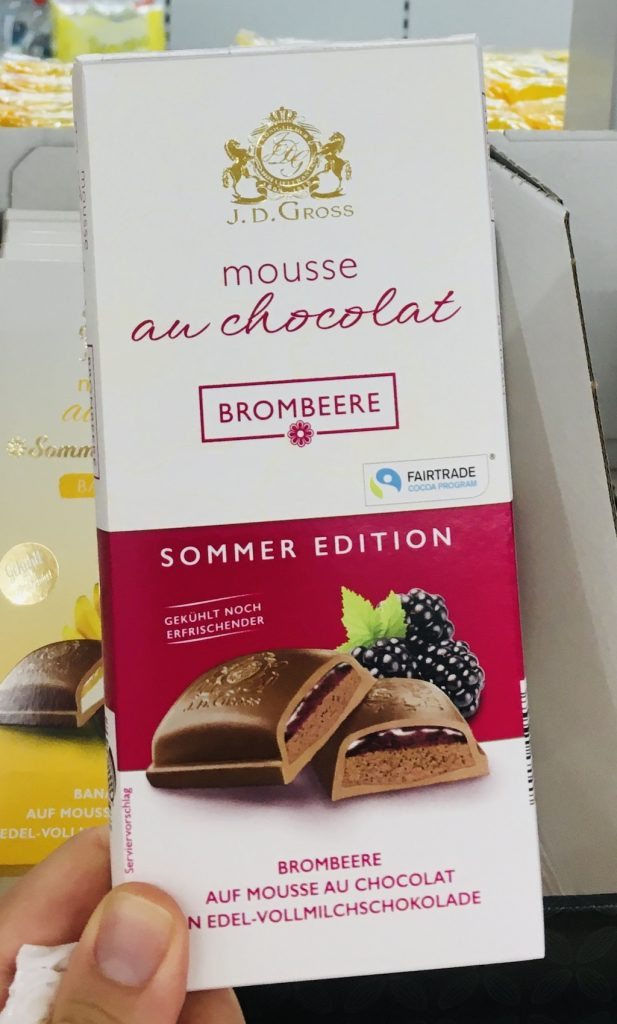 Lidl JD Gross Mousse au Chocolat Sommer Edition Brombeere Tafelschokolade