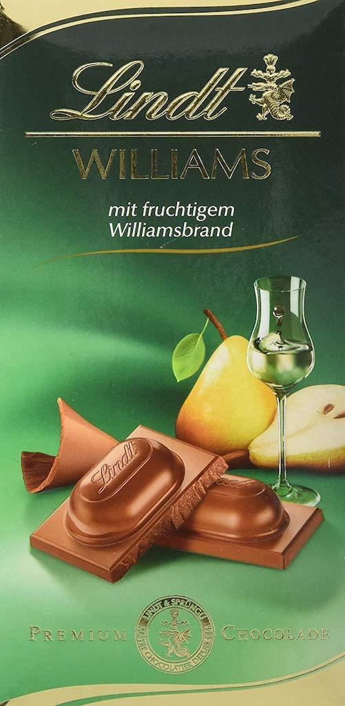 Lindt Williams mit fruchtigem Williamsbrand Tafelschokolade mit Birnenaroma