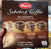 Aldi Mucci Schoko&Kaffee Eis-Desserts in 4-fach verführer Vielfalt Latte macchiato-Dunkle Schokolade-Schokolade-Nougat-Mousse-au-Chocolat