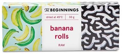 Beginnings RAW banana rolls Getrocknet bei 45 Grad 30 Gramm