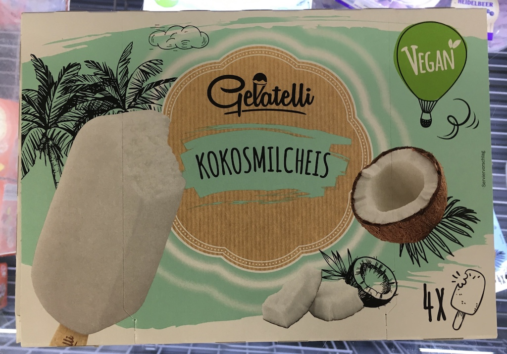 Lidl Gelatelli Vegan Kokosmilcheis 4 Stück Tiefgefroren