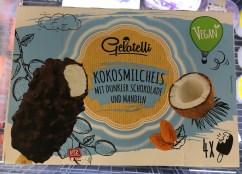 Lidl Gelatelli Vegan Kokosmilcheis mit dunkler Schokolade und Mandeln 4 Stück