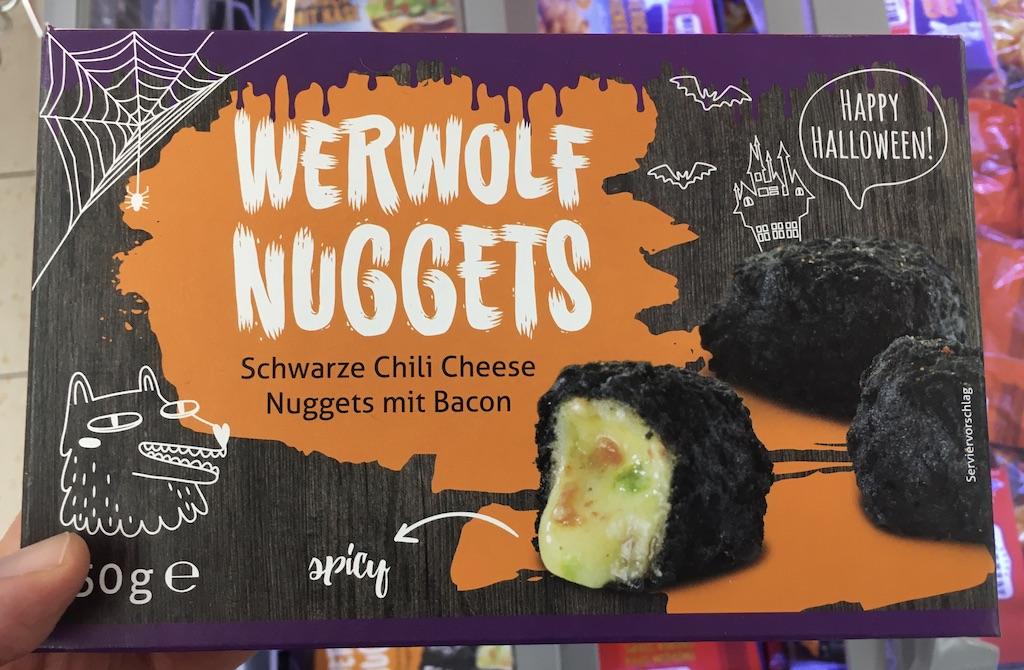 Lidl Werwolf Nuggets Schwarze Chili Cheese Nuggets mit Bacon Tiegefrorener Snack zu Halloween