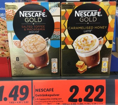 Nescafé Gold Salted Toffee+Macadamia Mocha und Caramelised Honey Latte