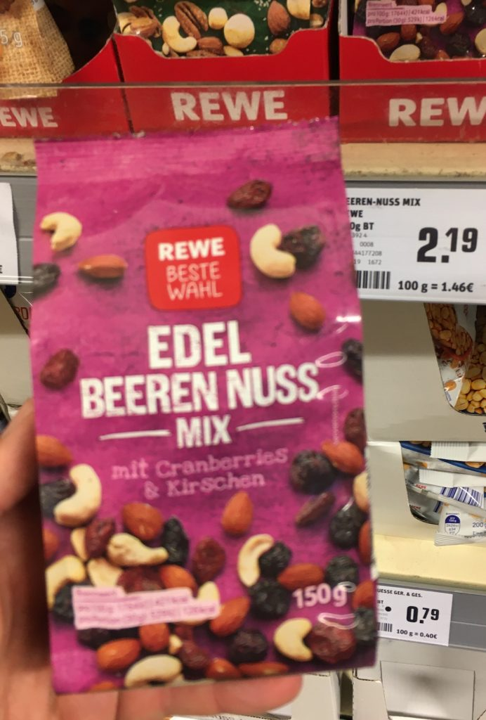 Rewe Beste Wahl Edel Beeren Nuss-Mix mit Cranberries und Kirschen