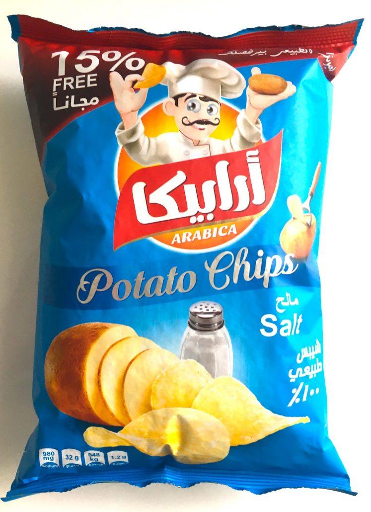 Arabische kartoffelchips mit Salz