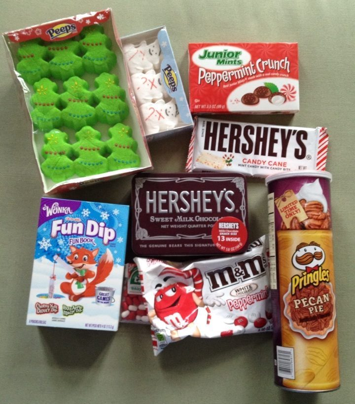Süße Geschenk aus den USA wie Junior Mints-Fun Dip-Hersheys-M+M-Pringles Pecan Pie und Peeps