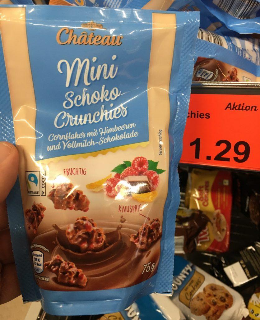 Aldi Chateau Mini Schoko Crunchies Cornflakes mit Himbeeren und Vollmilch-Schokolade