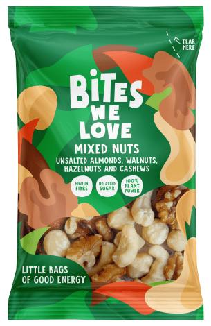 Bites we Love Mixed Nuts – Ungesalzene Mandeln-Walnuss-Haselnuss und Cashewkerne
