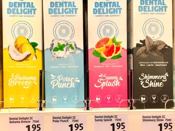 Dental Delight Bahama Breeze mit Kokos-Ananas-Polar Punch mit Gletscherminze-Sunny Splash mit Grapefruit-Minz-Shimmery Shine mit Minz-Lakritz und Aktivkohle