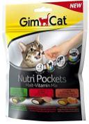 GimCat Nutri Pockets mit Katzenminze Rind+Malz Lachs+Omega3