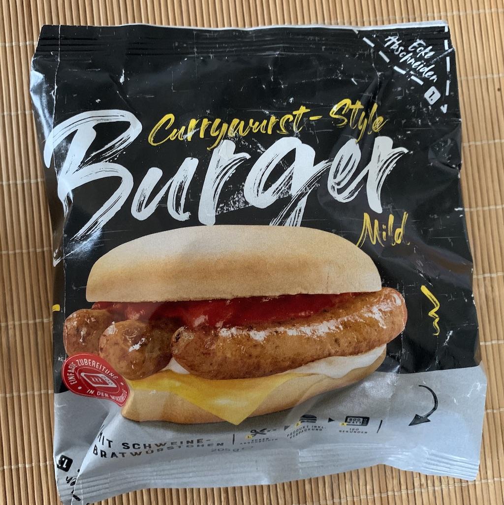 Lidl Mikrowellenburger Currywurststyle mit Schweine-Bratwürstchen