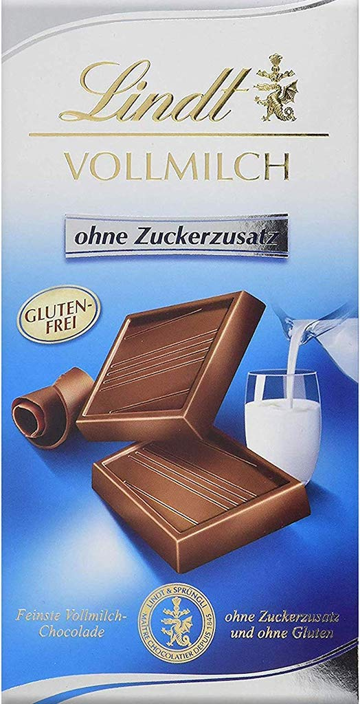 Lindt Vollmilch Schokolade ohne Zuckerzusatz Glutenfrei