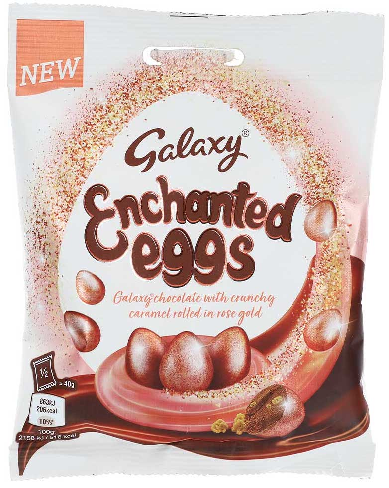 Mars Galaxy Enchanted Eggs with crunchy Caramel rolled in Rose-Gold 80 Gramm