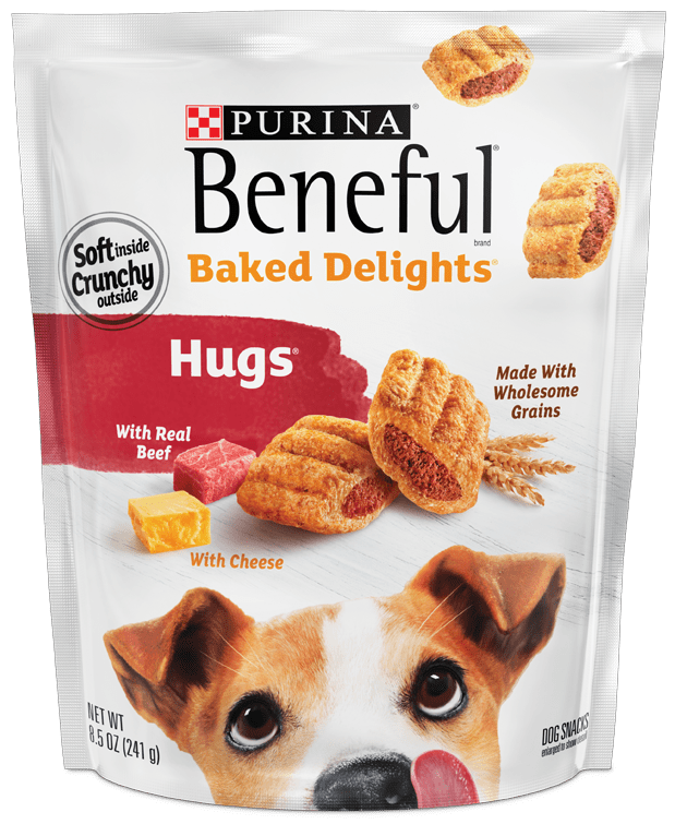 Purina Beneful Baked elights Hugs with real Beef and Cheese – with Wholesame Grains