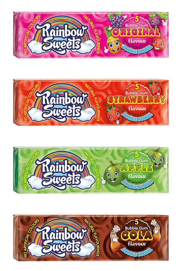 Rainbow Sweets Bubble Gum-Original-Strawberry-Apple-Cola