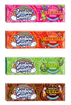 Rainbow Sweets Bubble Gum-Original-Strawberry-Apple-Cola